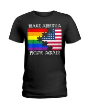 Make America Pride Again Flag Pride LGBT Gift Tee  Ladies T-Shirt thumbnail