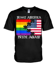 Make America Pride Again Flag Pride LGBT Gift Tee  V-Neck T-Shirt thumbnail