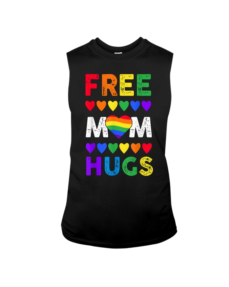 Freemom hugs tshirt rainbow heart LGBT pride mont Sleeveless Tee
