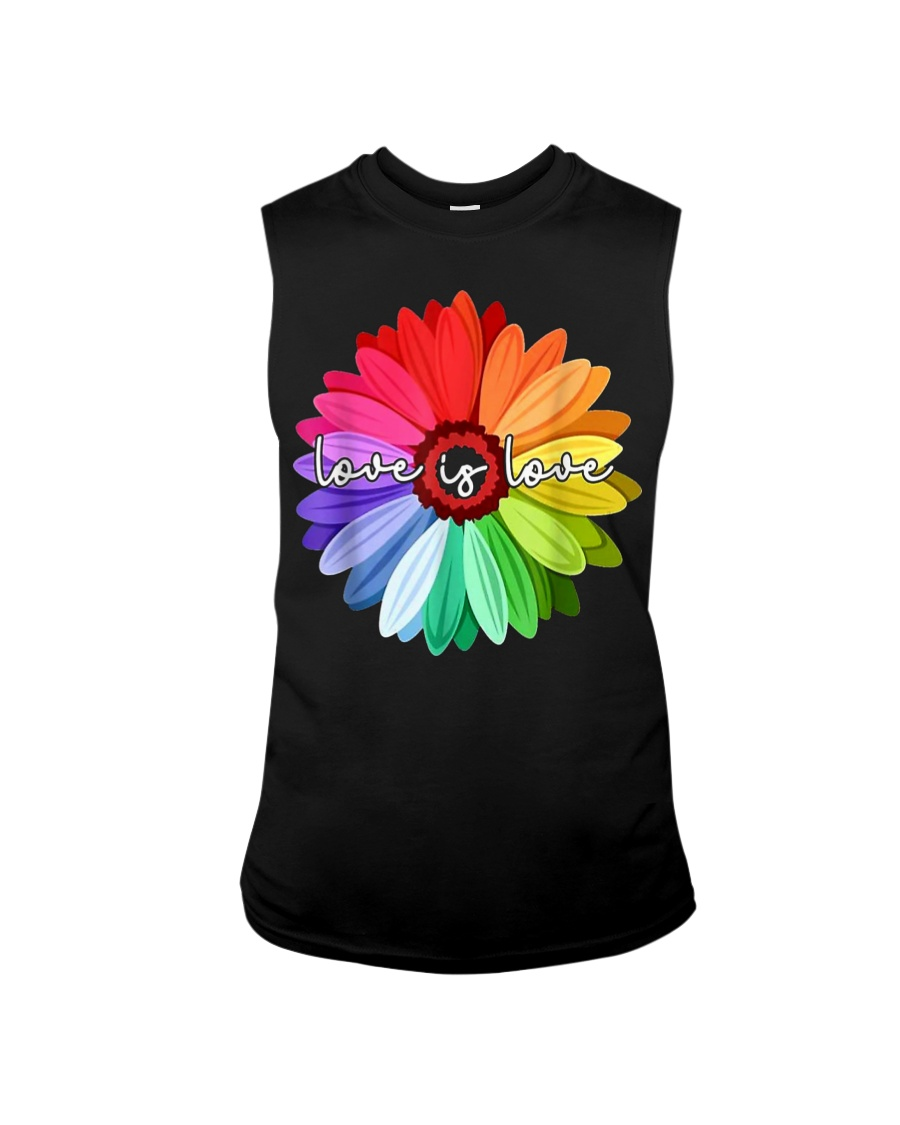 LGBT Pride Love Is Love Daisy Rainbow T-Shirt Sleeveless Tee