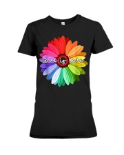 LGBT Pride Love Is Love Daisy Rainbow T-Shirt Premium Fit Ladies Tee thumbnail