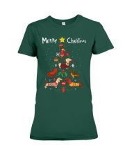 Funny Dachshund Christmas Tree Shirt Ornament Deco Premium Fit Ladies Tee thumbnail