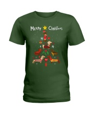 Funny Dachshund Christmas Tree Shirt Ornament Deco Ladies T-Shirt thumbnail
