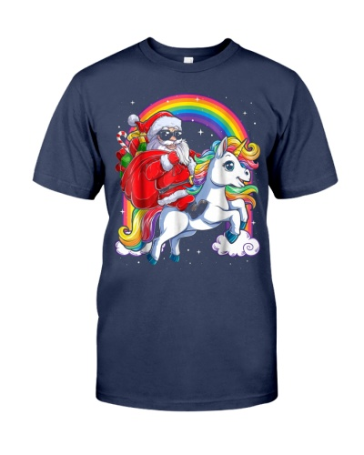 Unicorn Christmas Shirt Girls Santa Kids Women