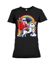 Unicorn Christmas Shirt Girls Santa Kids Women Premium Fit Ladies Tee thumbnail