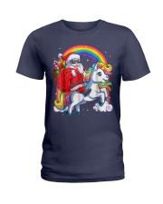 Unicorn Christmas Shirt Girls Santa Kids Women Ladies T-Shirt thumbnail