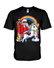 Unicorn Christmas Shirt Girls Santa Kids Women V-Neck T-Shirt thumbnail