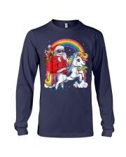 Unicorn Christmas Shirt Girls Santa Kids Women Long Sleeve Tee thumbnail