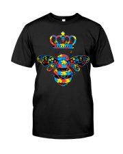Autism Awareness Bee With Crown And Jewelry Classic T-Shirt thumbnail