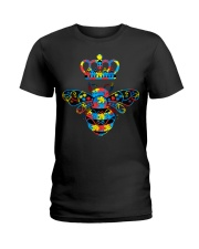 Autism Awareness Bee With Crown And Jewelry Ladies T-Shirt thumbnail