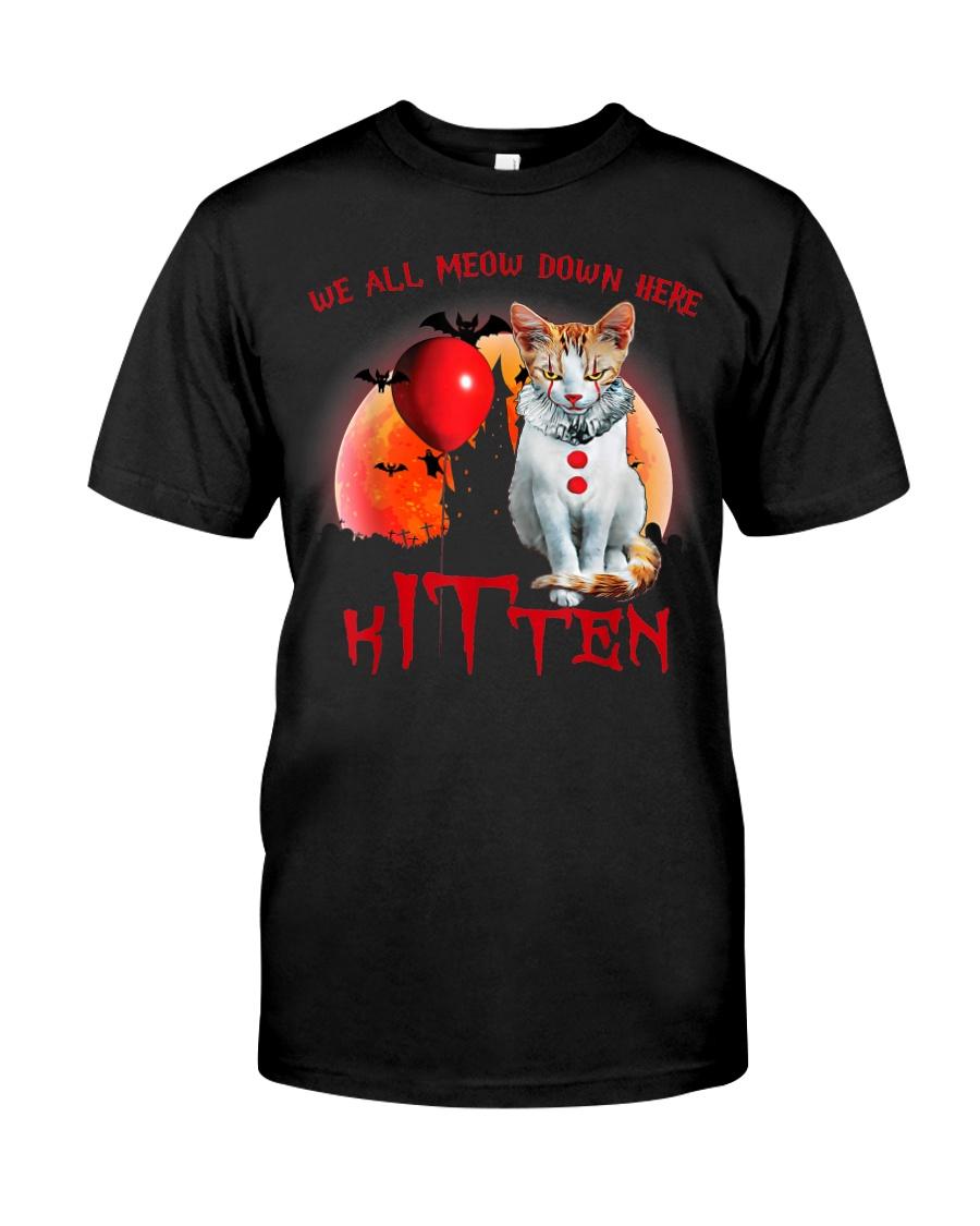 We All Meow Down Here Clown Cat Kitten Halloween  Classic T-Shirt