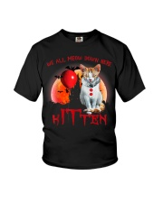 We All Meow Down Here Clown Cat Kitten Halloween  Youth T-Shirt thumbnail