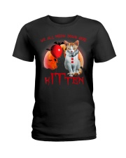 We All Meow Down Here Clown Cat Kitten Halloween  Ladies T-Shirt thumbnail