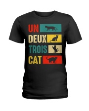 Un Deux Trois Cat Joke Vintage Cat Lover Ladies T-Shirt thumbnail