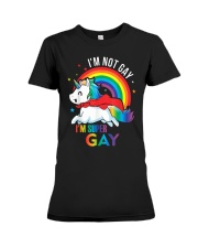 LGBT Pride Rainbow Unicorn Shirt I'm Not Gay  Premium Fit Ladies Tee thumbnail