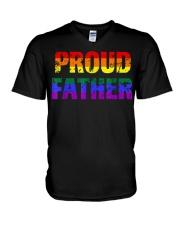Mens Gay Pride Shirt Proud Father LGBT parent Tee  V-Neck T-Shirt thumbnail
