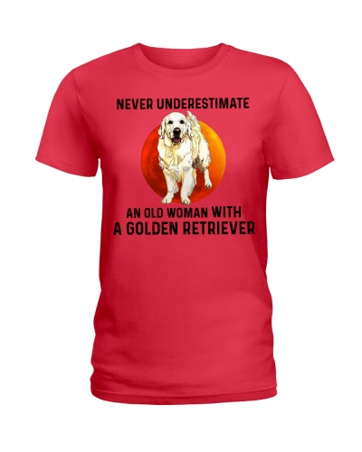 An Old Woman With A Golden Retriever