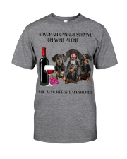 A Woman Cannot Survive On Wine She Needs Dachshund Classic T-Shirt thumbnail
