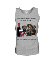 A Woman Cannot Survive On Wine She Needs Dachshund Unisex Tank thumbnail