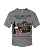 A Woman Cannot Survive On Wine She Needs Dachshund Youth T-Shirt thumbnail