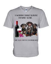 A Woman Cannot Survive On Wine She Needs Dachshund V-Neck T-Shirt thumbnail