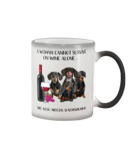 A Woman Cannot Survive On Wine She Needs Dachshund Color Changing Mug thumbnail