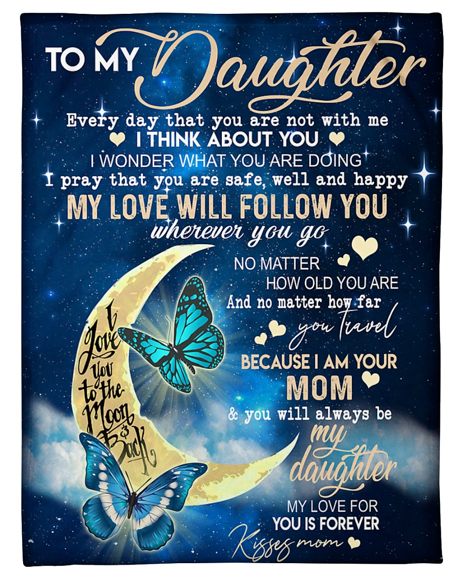 """Butterfly - To My Daughter Small Fleece Blanket - 30"""" x 40"""""""