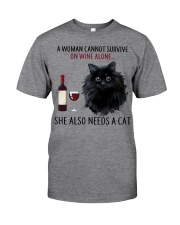 Limited Edition - Woman Also Needs Cat On Wine Classic T-Shirt tile