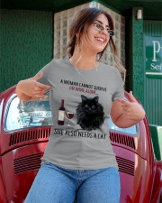 Limited Edition - Woman Also Needs Cat On Wine Ladies T-Shirt apparel-ladies-t-shirt-lifestyle-01