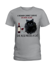 Limited Edition - Woman Also Needs Cat On Wine Ladies T-Shirt front