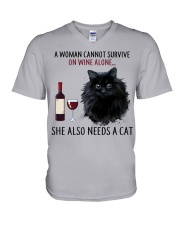 Limited Edition - Woman Also Needs Cat On Wine V-Neck T-Shirt thumbnail