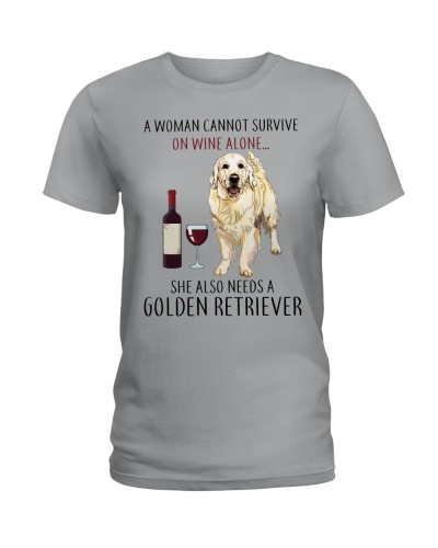 Woman Needs Golden Retriever On Wine