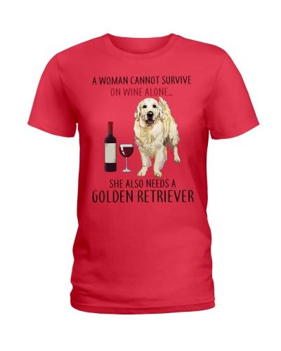 Woman Needs Golden Retriever On Wine