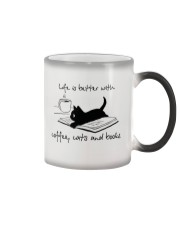 Life Is Better With Coffee Cats And Books Color Changing Mug thumbnail