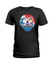 cat eat ramen retro and vintage illustration Ladies T-Shirt thumbnail
