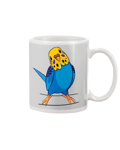 Blue Budgie Bird on the branch
