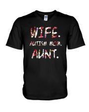 Wife Autism Mom Aunt V-Neck T-Shirt thumbnail