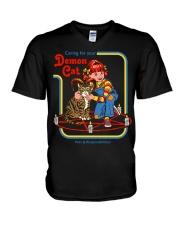CARING FOR YOUR DEMON CAT 72 V-Neck T-Shirt thumbnail