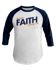 Keeping the Faith - Navy Blue Font Baseball Tee front