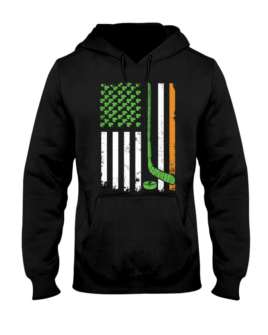 Irish American Hockey Flag Shirt Hockey St Patrick Hooded Sweatshirt
