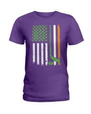 Irish American Hockey Flag Shirt Hockey St Patrick Ladies T-Shirt thumbnail