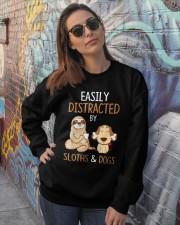 Easily Distracted By Sloths And Dogs Tshirt Sloth Crewneck Sweatshirt lifestyle-unisex-sweatshirt-front-3
