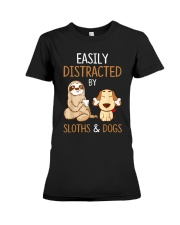 Easily Distracted By Sloths And Dogs Tshirt Sloth Premium Fit Ladies Tee thumbnail