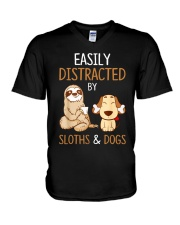 Easily Distracted By Sloths And Dogs Tshirt Sloth V-Neck T-Shirt thumbnail