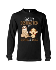 Easily Distracted By Sloths And Dogs Tshirt Sloth Long Sleeve Tee thumbnail