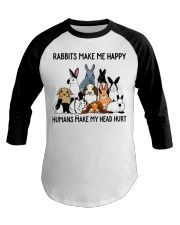 RABBITS MAKE ME HAPPY Baseball Tee thumbnail