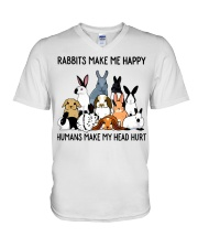 RABBITS MAKE ME HAPPY V-Neck T-Shirt thumbnail