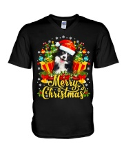 Merry Christmas Border Collie Mom Dad Christmas V-Neck T-Shirt thumbnail