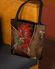 Dragon Lovers Christmas Leather Pattern Print All-over Tote aos-all-over-tote-lifestyle-front-02