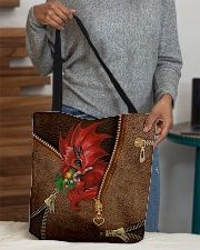Dragon Lovers Christmas Leather Pattern Print All-over Tote aos-all-over-tote-lifestyle-front-10